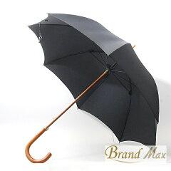 【BrandMax】エルメス/紳士用傘/ブラック/直径98cm/ウッドハンドル【中古】