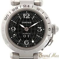 【BrandMax】カルティエ/Cartier/SS/パシャCメリディアン/GMT/ビックデイト/ブラック文字盤/自動巻き/W31049M7【】