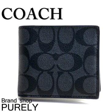 コーチ COACH 財布 メンズ F74993 CQ/BK シグネチャー コンパクト ID ウォレット 折り財布 チャコール×ブラック (小銭入れなし) コーチ COACH メンズ レディース MMM