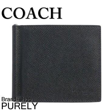 コーチ COACH 財布 折りたたみ財布 メンズ アウトレット レザー マネークリップ 二つ折り ウォレット F23847 BLK ブラック コーチ COACH メンズ MMM