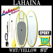 "2015�ѥɥ�ܡ���LAHAINA/��ϥ���SUP8'0""WHT/YELLOW������ɥ��åץѥɥ�ܡ��ɥ��å�"
