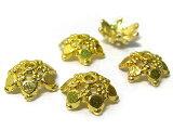チベタン座金アクセサリーパーツスノーデザインゴールド約10mm(10個セット)写真1