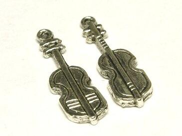 チャーム バイオリン 銀古美 約26×7mm (1個販売) 楽器 音楽 アクセサリーパーツ ハンドメイド DIY