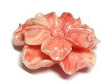 珊瑚(練り)フラワーモチーフパーツピンク約50×14mm【1個販売】2つ穴花アクセサリーパーツ