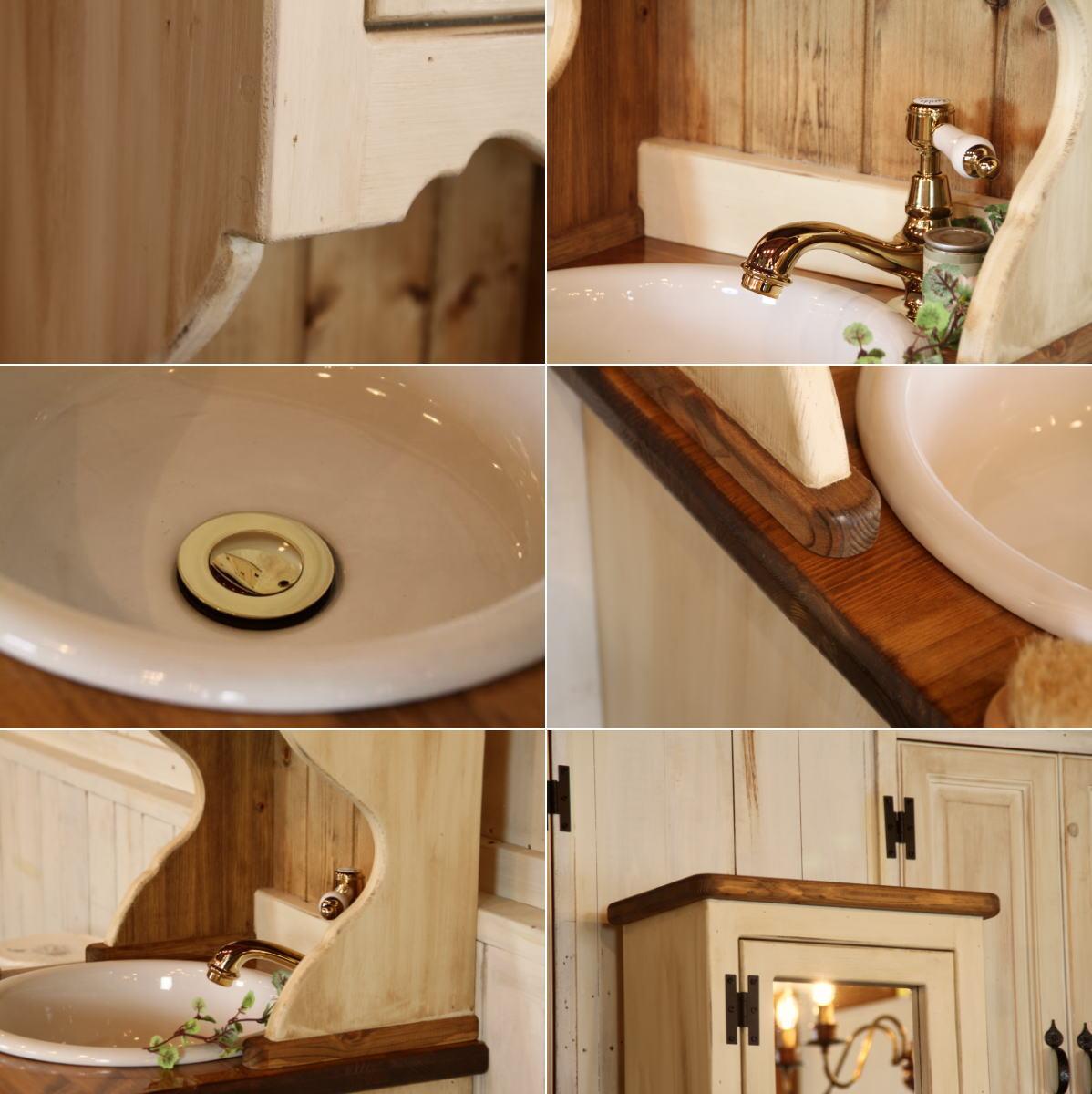 洗面台 幅40 日本製 鏡 収納 カントリー ...の紹介画像3