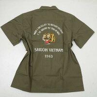 BuzzRicksonsバズリクソンズBR38145-149ベトナム半袖シャツSAIGONワッペン刺繍オリーブ