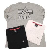 AlphaアルファTC1430-11アルファワンポイントAマークバックプリント長袖Tシャツ