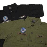 AlphaアルファTS5110コットンリップストップワッペン半袖ユーティリティーシャツ半袖アーミーシャツワッペンミリタリー半袖シャツ