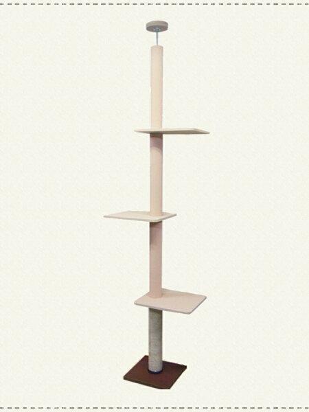 国産キャットタワー天井突っ張りタイプスリム猫タワーお掃除ラクラクシート×麻縄ミックスタイプ・棚板3枚麻縄巻き爪とぎ爪研ぎ
