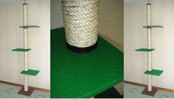 【送料無料!売れ筋商品!】キャットタワー麻縄巻き支柱棚板3枚(グリーン)天井突っ張りタイプ猫タワー爪とぎ省スペース