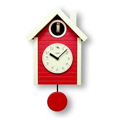 鳩時計 ハト時計 北欧カラ—赤色 さんてる 日本製 振り子はと時計 QL694RE カッコーク…