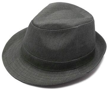 コットン 中折れハット チャコールグレー シンプル 大きい 帽子