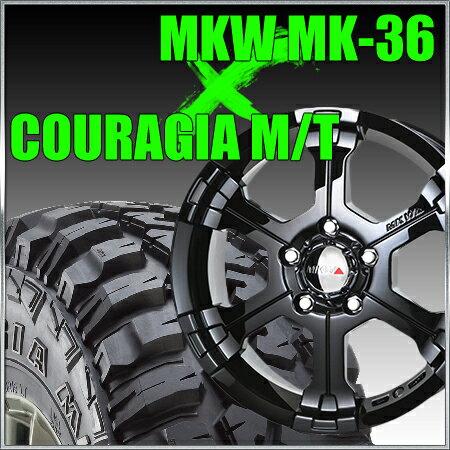 MKW MK-36 16x8J±0 139.7x6穴 109.8 グロスブラック&ジムニー タイヤ 205/80R16 FEDERAL COURAGIA M/T クーラジア MT