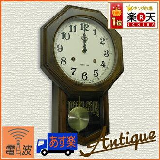 ≪ランキング受賞≫日本製 レトロ八角 振り子 電波時計