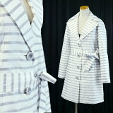 フレンチボーダー・ジャカード素材ワイヤー入りテーラー衿スプリングコート