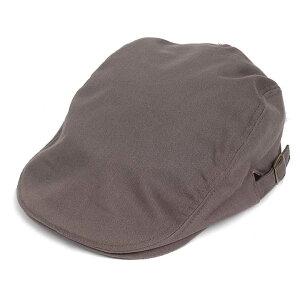ハンチング帽 メンズ コットン ヘリンボーン ハンチングキャップ グレー 灰色 ハンチング帽子 フリーサイズ (58cm) 調整可能 ハンチングの定番 内側はチェック柄