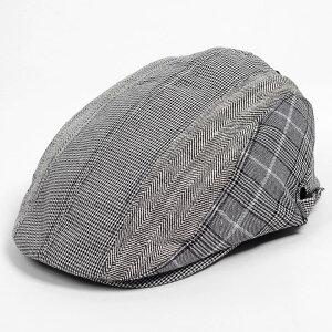 ハンチング メンズ レディース 3枚 はぎ グレンチェック ブラック 黒 帽子 58cm サイドスナップ・キャップ 調整ベルト付き