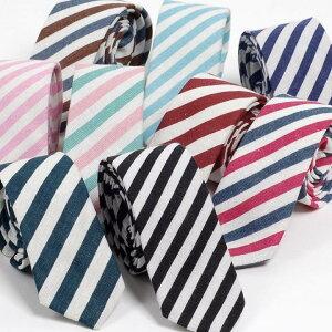 [決算10%OFFセール対象商品]ネクタイ メンズ ストライプ リネン コットン素材 おしゃれ リネン生地と淡い色でクールな感じのファッション・ネクタイ スクール デザイン 大剣幅 6cm スリム・ナロータイ