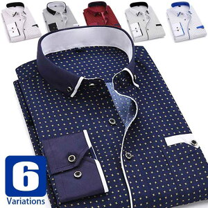 ドレスシャツ メンズ カジュアル ワイシャツ ボタンダウン 長袖 胸ポケット ゴールドリング飾りボタン 滑らかでソフトな生地 ややスリムフィット ネイビー ワイン ブルー ブラック系の6種類
