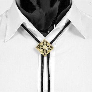 ループタイ ボロタイ 花柄 ダイヤ形 ペンダント ブラック&ゴールド色 rt15 メンズアクセサリー 紳士用 ループタイ 紐付き ループタイ
