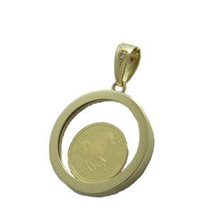 [Оплата наложенным платежом, бесплатная доставка] Кулон Тувалу из чистого золота, подвеска 1/25 унции, которая спасает диких лошадей страны Тувалу