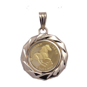 [Cash on Delivery Fee, Free Shipping] Tuvalu Horse Relieving Wild Horses from Tuvalu Tuvalu Horse Pure Gold Coin 1/25 oz Pendant Coin Pendant Coin Necklace Coin k18 18 Gold Coin Necklace Coin Pendant
