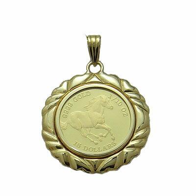 ツバルの国の野生馬1/10オンス金貨ペンダント