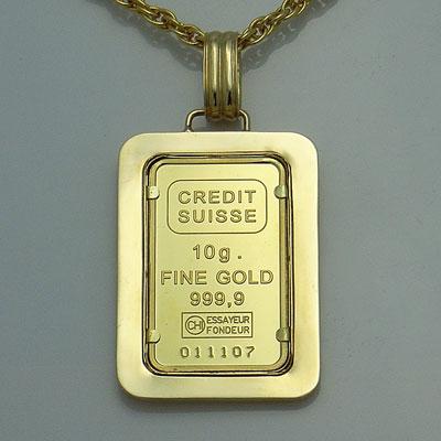 【代引き手数料、】人類の永遠の象徴を純金でレリーフした傑作 信頼のクレジットスイスのリバティー10gペンダント