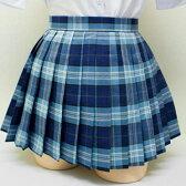 wsk-15-l40-8416【送料無料】チェック プリーツ スカート (青×グレー、40cm丈)  02P03Dec16