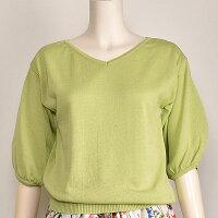 サマーニットレディースバルーン袖綿セーターピンクグリーンパープルNOUQUE【40代50代ファッション】