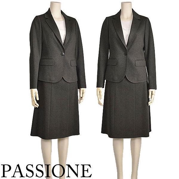 セットアップスカートレディーステーラードジャケットストレッチグレーPASSIONE 40代50代ファッション  10倍