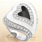 ハート パヴェ リング ホワイト&ブラック/Heart/指輪 白色 / 黒色 / キュービックジルコニア(ダイヤモンド色)プラチナシルバー色 ボリューム感のある可愛い幅広の エナメル リング。女性 レディース リング 大きいサイズ もあります。