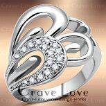 美しく素敵に飾る曲線デザインパヴェリング/指輪/女性レディースリング【Crave-Loveクレィヴラブ】