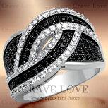 編み込みのようなウェーヴ曲線パヴェリング/指輪/マイクロ・パヴェ・リング/マイクロ・セッティング【Crave-LoveJewelrybijouxParisFrance】【ビジューbijuo】