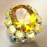 煌き輝く大粒イエロートパーズカラーレディースリング女性指輪ボリューム感のあるフラワーモチーフ|花黄色ファッションジュエリー大きいサイズもあります。【Crave-LoveBijouxParis】
