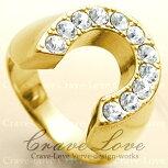 【メンズリング・男の指輪】ラッキーモチーフホースシュー馬蹄形リング/G/指輪/キュービックジルコニア(ダイヤモンド色)k1818kゴールドコーティング316ステンレス【Crave-Loveクレィヴラブ】