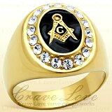 【メンズリング・男の指輪】フリーメイソン シンボル ギルド メンズ リング/FR2/指輪 秘密結社 / イルミナティ / メソニック / ブラック 黒色 / K18 ゴールドカラー / 大きいサイズ もあります。