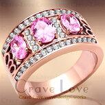 ピンク3ストーンパヴェリング/ピンクゴールド色/指輪レディースリング幅広【Crave-Loveクレィヴラブ】