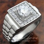 【メンズリング・男の指輪】豪華デザインメンズステンレスリング/指輪/RM4/ダイヤモンドカラー/シルバープラチナカラーリング/【Crave-LoveCostumeJewelryBijouxParis】