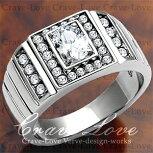 【メンズリング・男の指輪】豪華デザインメンズステンレスリング/指輪/RM13/ダイヤモンドカラー/シルバープラチナカラー【Crave-LoveCostumeJewelryBijouxParis】