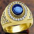 【メンズリング・男の指輪・メンズアクセサリー】 豪華デザイン メンズ ステンレス リング/指輪/RM15 キュービックジルコニア(サファイア色・ダイヤモンド色)k18 ゴールド色 / 幅広 / 大きいサイズもあります。【 Crave-Love メンズジュエリー 】
