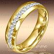 煌めく輝く フルエタニティ ステンレス リング G   6mm 18k K18 ゴールド色   ダイヤ色 (キュービックジルコニア) ファッション リング 指輪   大きいサイズ もあります。 【 Crave-Love Jewelry bijoux Paris 】