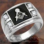 【メンズリング・男の指輪】フリーメイソンシンボルギルドメンズリング/FR8/指輪Freemason-Symbol-Guild-Ring/MASONICRING/Freemasonry/メソニックリング/秘密結社イルミナティ/ダイヤモンドカラー/プラチナシルバーカラー