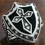 【メンズリング・男の指輪】ナイト(騎士)シールド(盾)ゴシックデザインリング指輪ステンレスシルバープラチナカラー【Crave-LoveJewelryBijouxParisFrance】