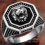 【メンズリング・男の指輪】豪華デザインメンズステンレスライオンリング/指輪/アニマルリング/LionRing/シルバープラチナカラーリング【Crave-LoveJewelryBijouxParisFrance】