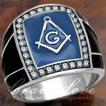 【メンズリング・男の指輪】フリーメイソンシンボルギルドメンズリング/FR9/指輪Freemason-Symbol-Guild-Ring/MASONICRING/Freemasonry/メソニックリング/秘密結社イルミナティ/ダイヤモンドカラー/プラチナシルバーカラー