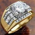 【メンズリング・男の指輪・メンズアクセサリー】豪華デザイン メンズ ステンレス リング RM5-G   指輪   幅広   立爪   K18 ゴールド カラー   大きいサイズ もあります。 【 Crave-Love メンズジュエリー 】