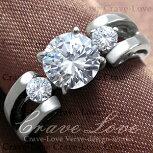 3ストーンスプリットシャンクステンレスリング/指輪【Crave-LoveCostumeJewelryBijouxParisFrance】【ビジューbijuobijoux】