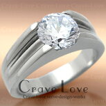 煌き輝く大粒ストーンメンズステンレスリング指輪ダイヤモンド色ジルコニア|プラチナシルバー色男性メンズおしゃれファッションアクセサリー大きいサイズ大きめもあります。【Crave-Loveメンズジュエリー】