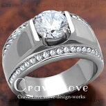 【メンズリング・男の指輪】豪華デザインメンズステンレスリング/指輪/RM19/ダイヤモンドカラー/シルバープラチナカラーリング【Crave-LoveJewelryBijouxParisFrance】
